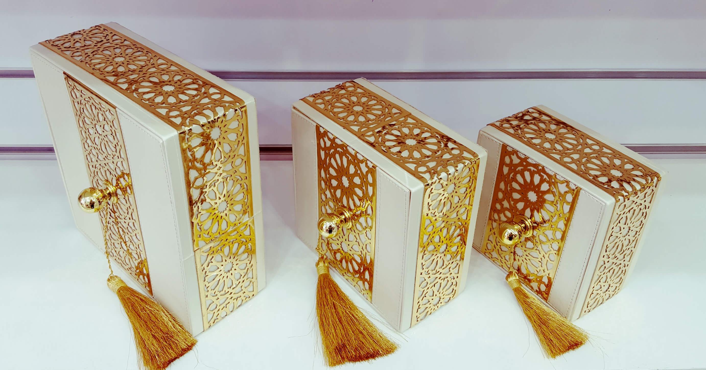 Boites décoratives Carrée dorée