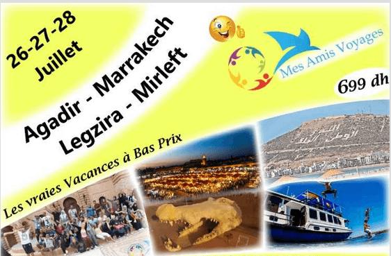 Voyage Agadir Marrakech Legzira 26 27 28 juillet