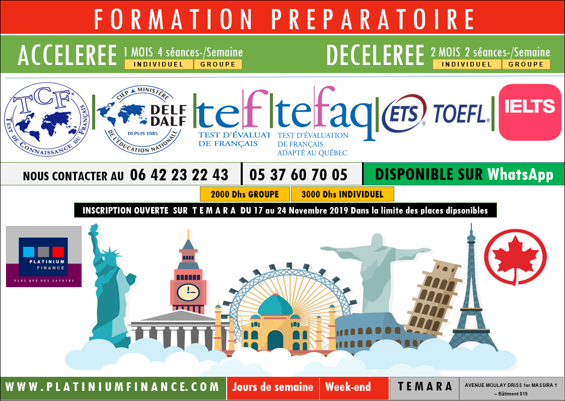 Préparation aux TESTS -/ TEFAQ-TCF-TEF-TFI- DELF-DALF-DILF- CANADA – FRANCE –TEMARA