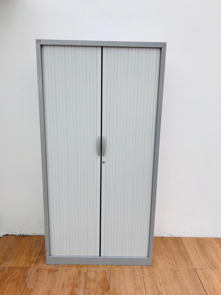 Armoire métalique porte coulissante blanc 100×200