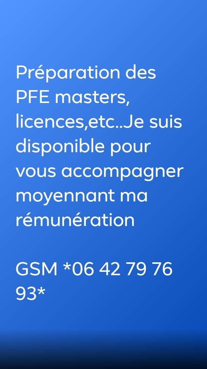 PFE ENCADREMENT PREPARATION REALISATION (étudiants masters licences etc…)