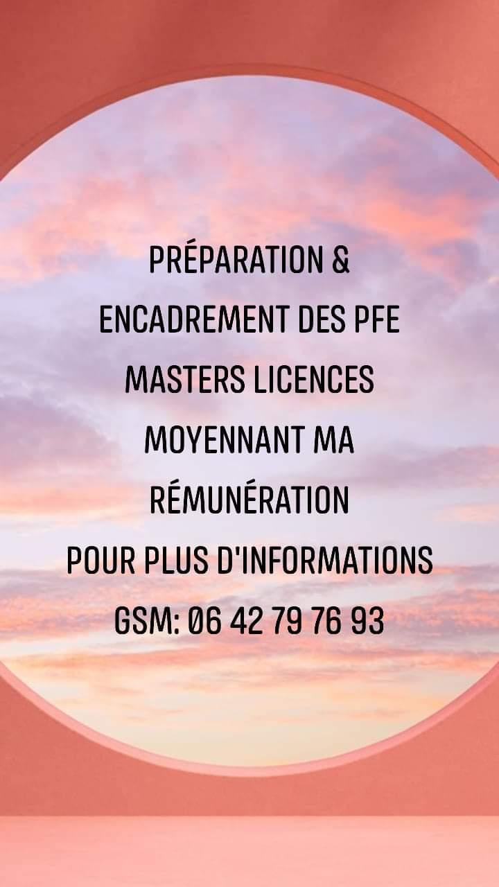 PFE masters licences etc..Soutien scolaire & révision divers niveaux d'études