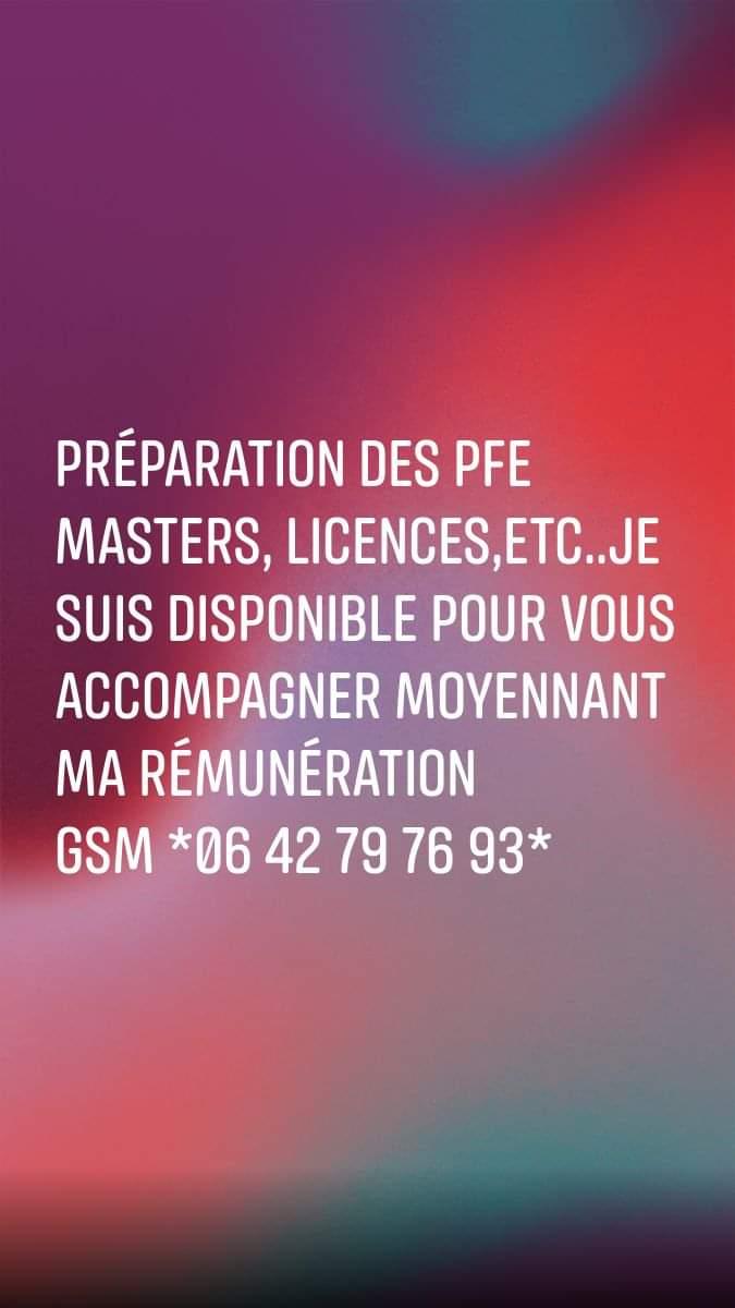 Soutien scolaire Révision Préparation Encadrement Réalisation des PFE Masters licences etc…