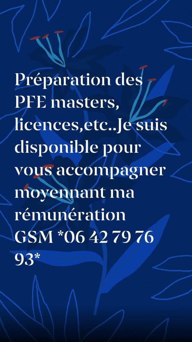 Soutien scolaire Révision Coaching préparation PFE Masters Licences Formation