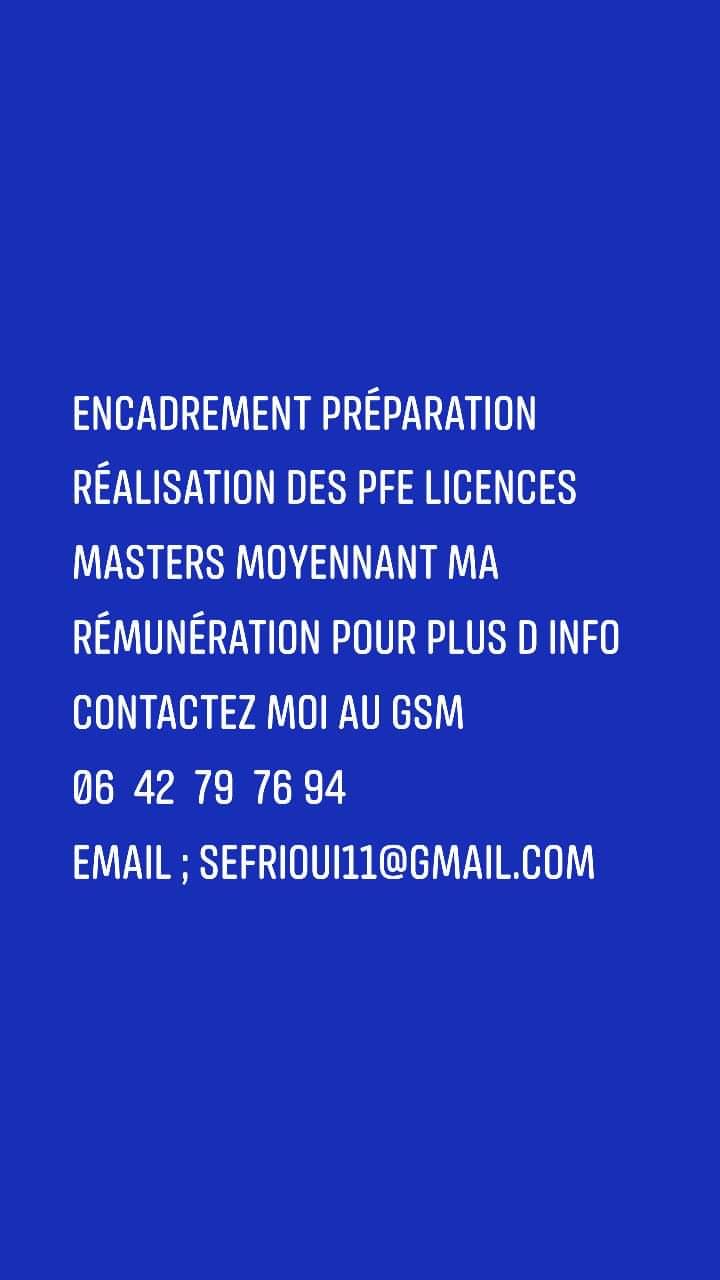 PFE Masters Licences Préparation Encadrement Réalisation