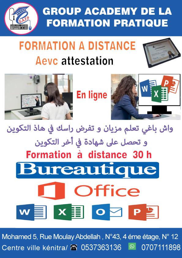 formation en ligne bureautique à distance