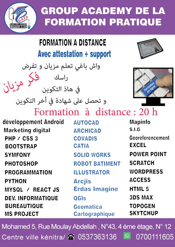 Formation création sites web développement mobile à distance