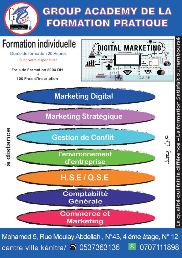 Formation  individuelle en Marketing digital + Certificat( à distance)