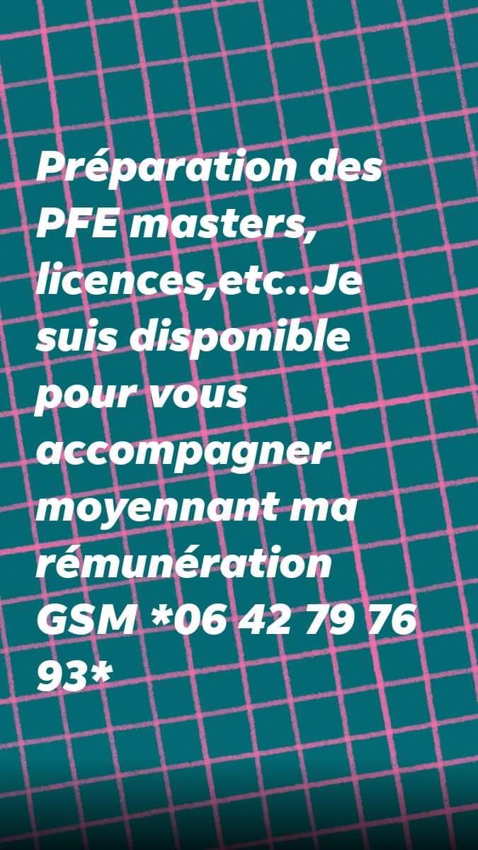 PFE Masters Licences Encadrement Préparation Réalisation
