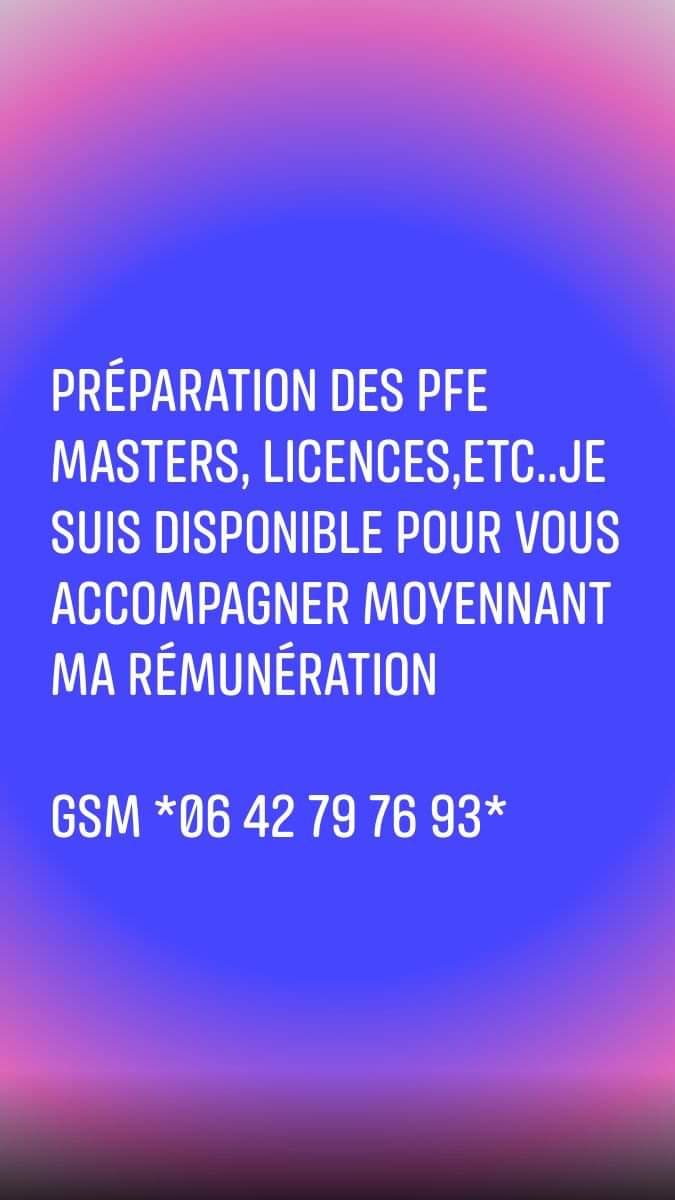 PROJETS de FIN d' ETUDES masters licences Préparation Encadrement Réalisation