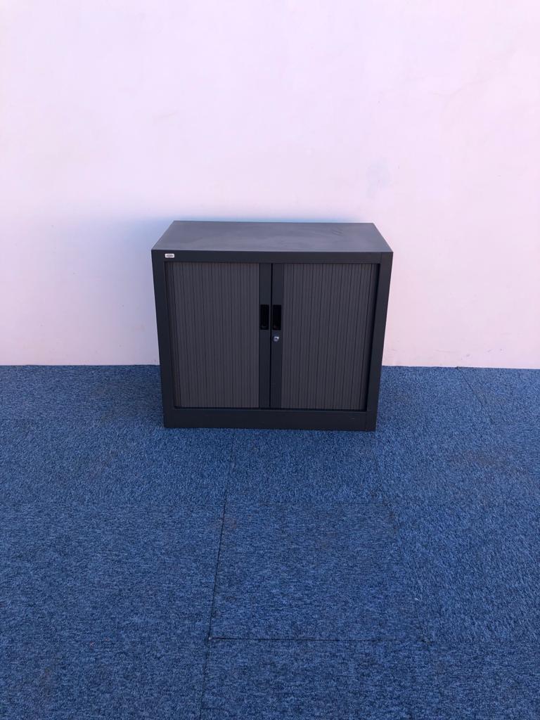 Armoire basse coulissante vinco gris anthracite 73x80cm