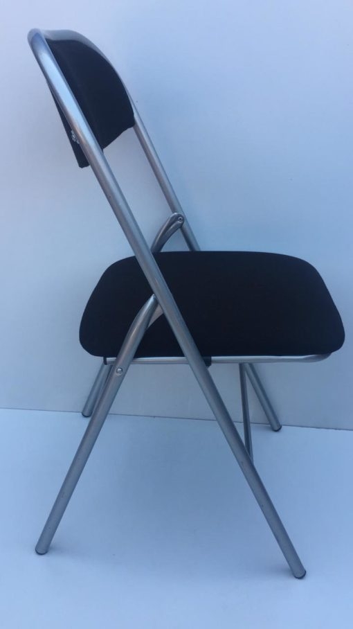 Chaise pliante gris noir tissus
