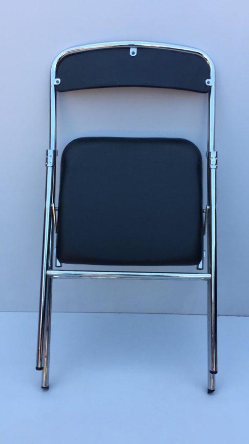 Chaise pliante aluminium noir simili cuir