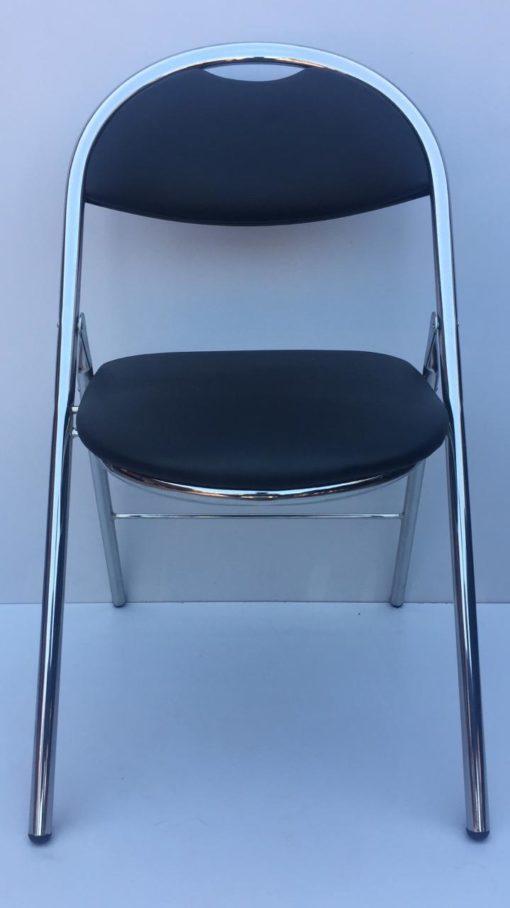 Chaise pliante aluminium simili cuir noir