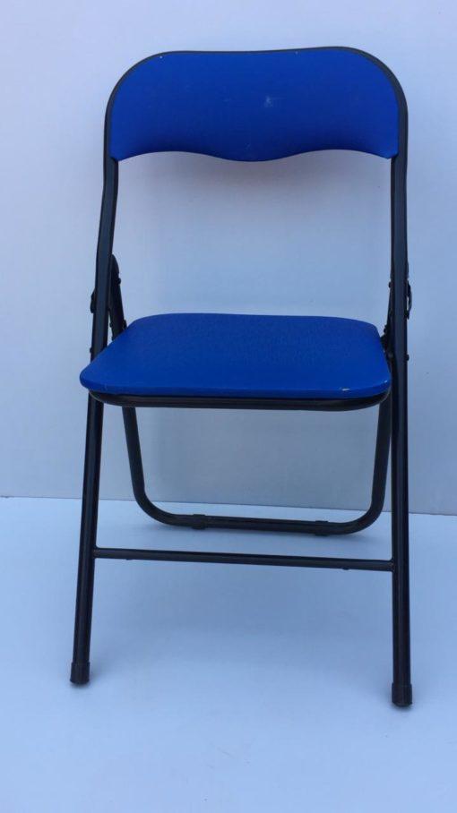 Chaise pliante bleu noir tissus