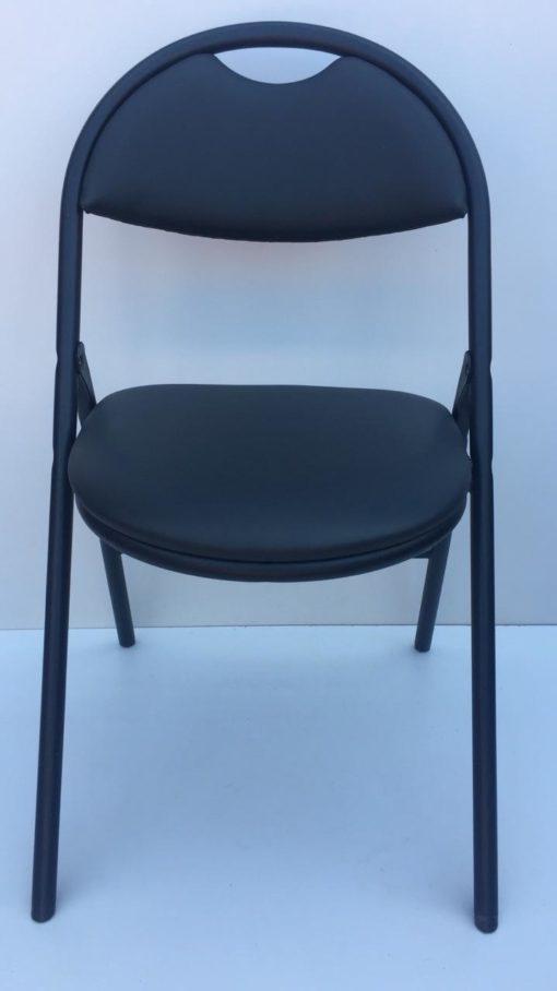 Chaise pliante simili cuir noir