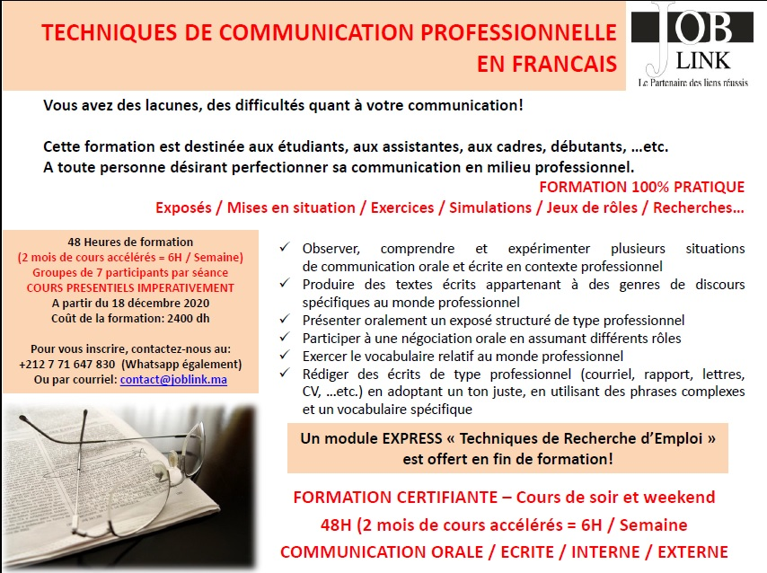FORMATION CEERTIFIANTE COMMUNICATION PROFESSIONNELLE EN FRANCAIS