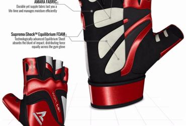 RDX L8 Rouge Gants de Musculation