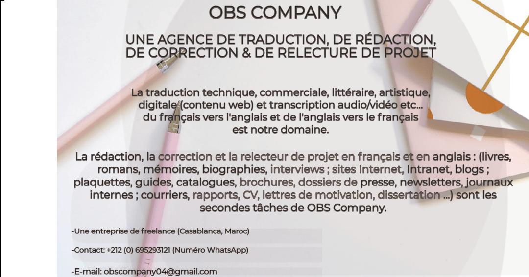 Traducteur/Rédacteur/Correcteur/Relecteur de projet en français et en anglais