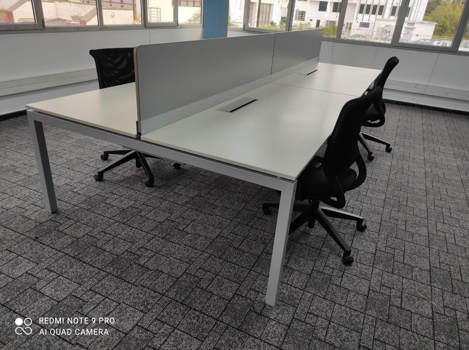 Bureau bench Haworth 180×80 plateau avec séparation