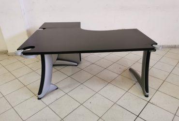 Bureau Angle Steelcase noir mat 160x140cm avec caisson