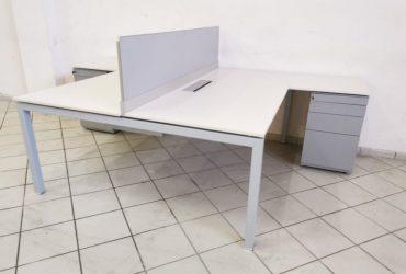 Ensemble Bureau bench Haworth 180×80 avec caisson 3T