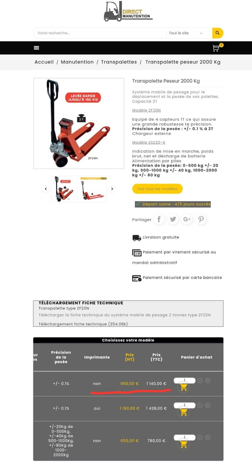 Transpalette peseur STOCKMAN 2T NEUF  IMPORTATION