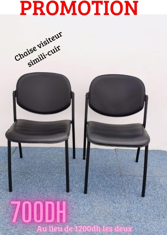 Chaise visiteur simili-cuir empilable