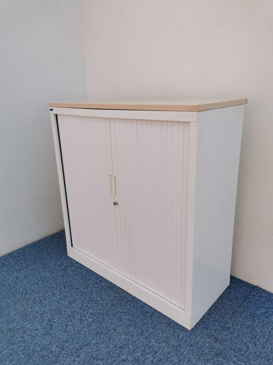 Armoire basse blanche magencia 100x100cm sans clé