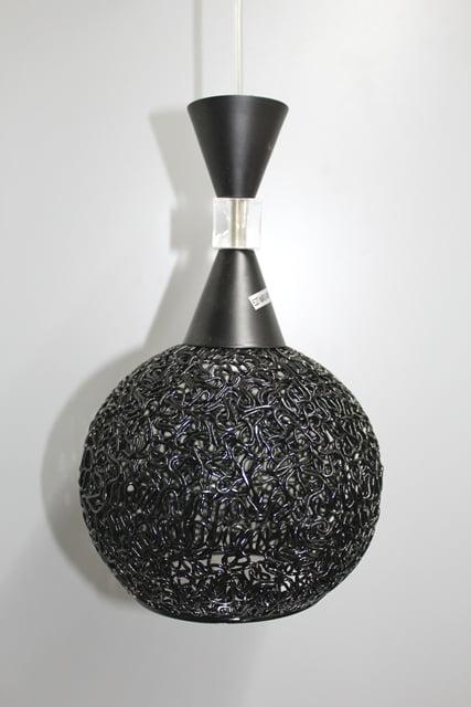 Suspension fer forgé 1 lampe noir