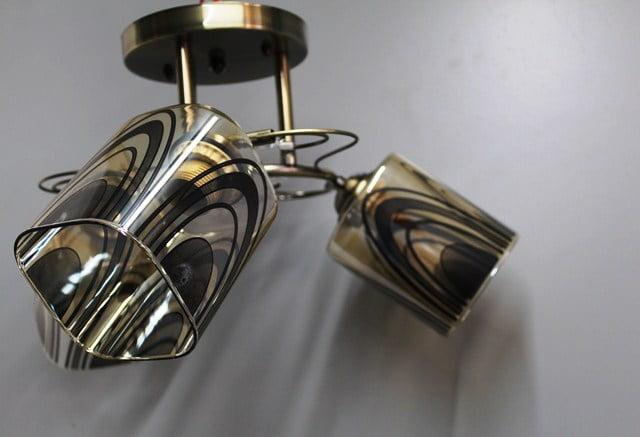 Suspension en fer forgé laiton + 3 verres