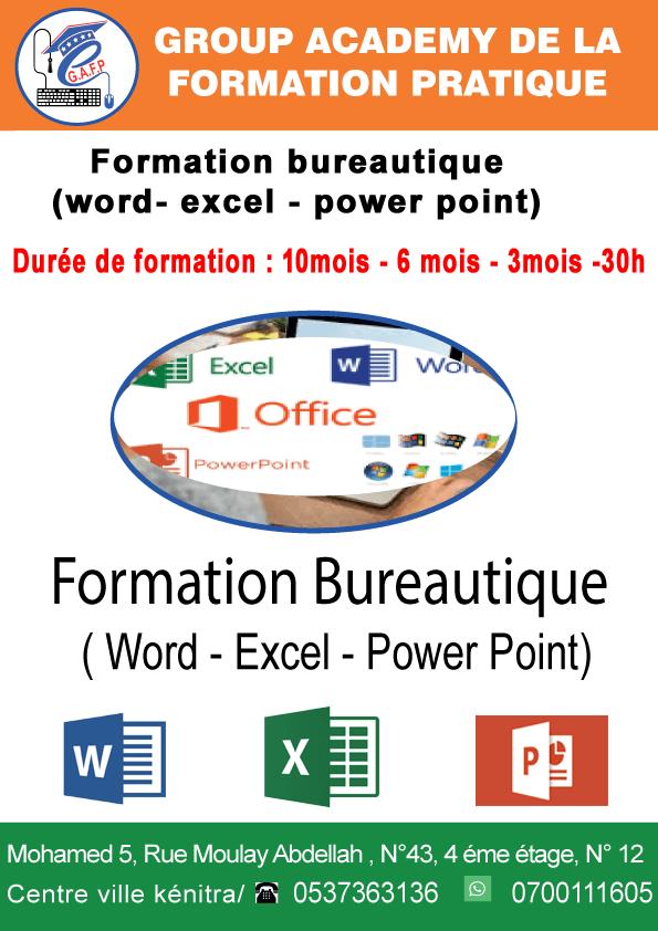 Formation en Bureautique ( Word- Excel – power point)