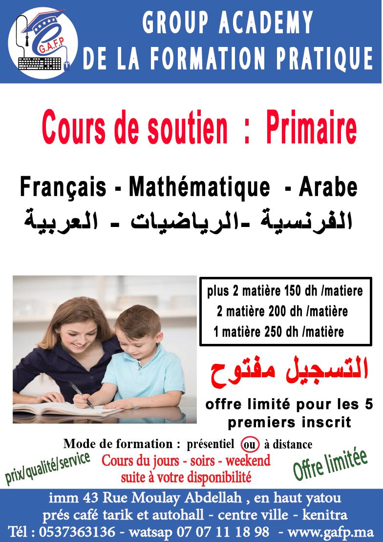 Cours de soutien primaire (français, arabe, mathématique)